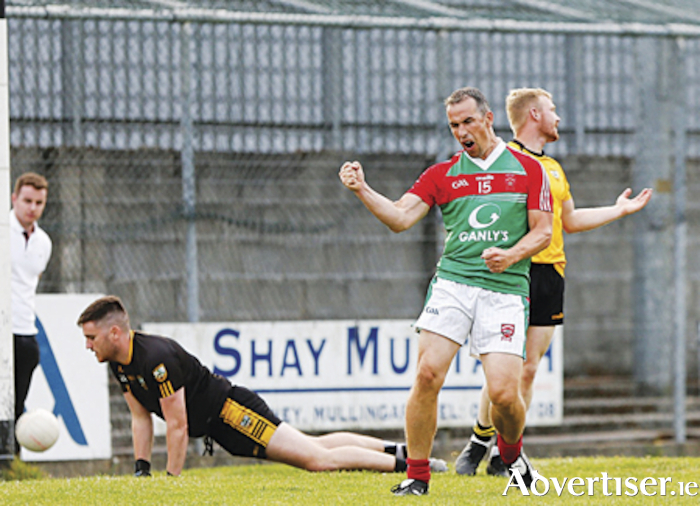 Garrycastle's Dessie Dolan celebrates scoring his team's second goal in their league final rout of Rosemount on Friday night in Mullingar.  The former Westmeath footballer will be hoping his club make a positive start to this year's senior championship when they take on Mullingar Shamrocks in Moate on Saturday evening (7.30pm).  Photograph by AC Sports Images.
