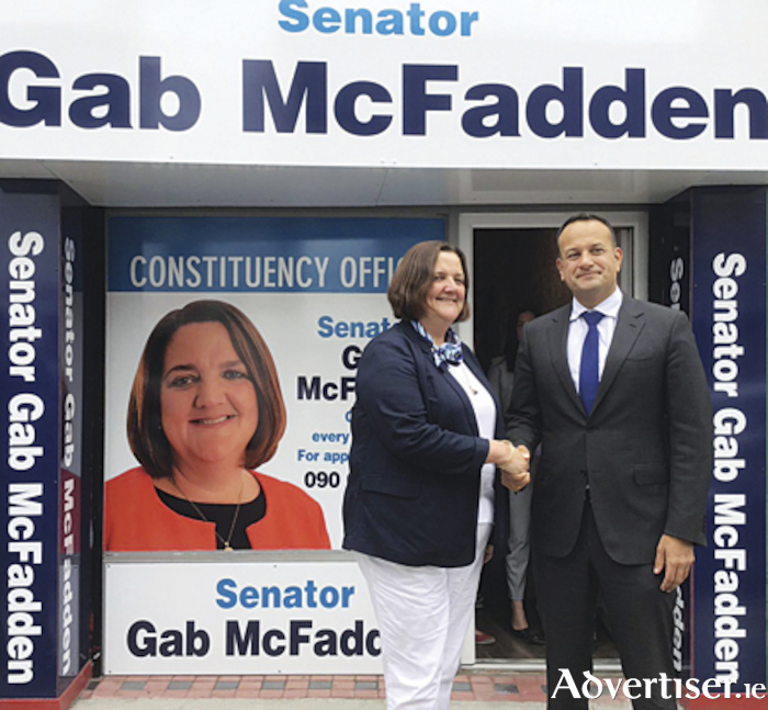 An Taoiseach, Leo Varadkar TD, is formally welcomed to Athlone by Senator Gabrielle McFadden, where he performed the formal opening of the Senator's constituency office on Friday