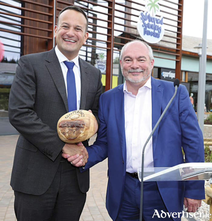 An Taoiseach, Leo Varadkar, TD, is pictured with Martin Dalby, Center Parcs CEO, as he marked the completion of the landmark €233 million Center Parcs Longford Forest resort.