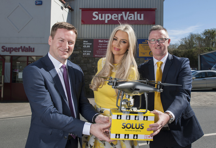 Mark Kavanagh from the Kavanagh Group and SuperValu Westport pictured with Rosanna Davison and David Reynolds, Sales and Marketing Manager, Solus. Photo: Michael Mc Laughlin.