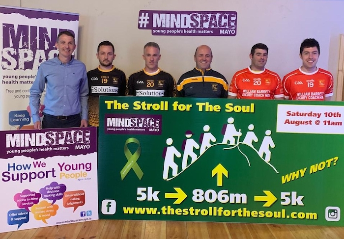 Pictured from left: Peadar Gardiner (Mindspace Mayo), Shane Loftus (Lahardane GAA), Aiden McDonnell (Lahardane GAA manager), Enda Coyne (Lahardane GAA club secretary), Barry Leonard (Lahardane GAA), and Adrian Leonard (Lahardane GAA captain). For further information check out the website for registration details: http://www.thestrollforthesoul.com.