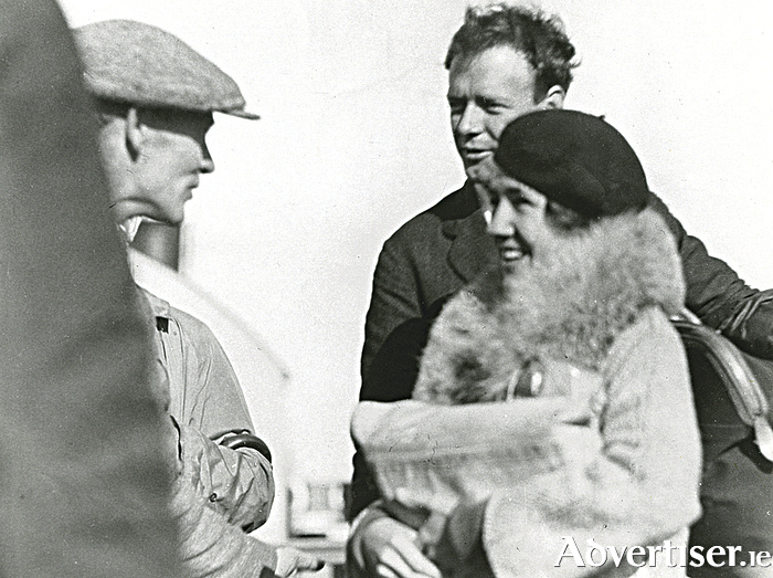 Dan Quinlan talking to Annie and Charles Lindbergh at Galway docks in October 1923.