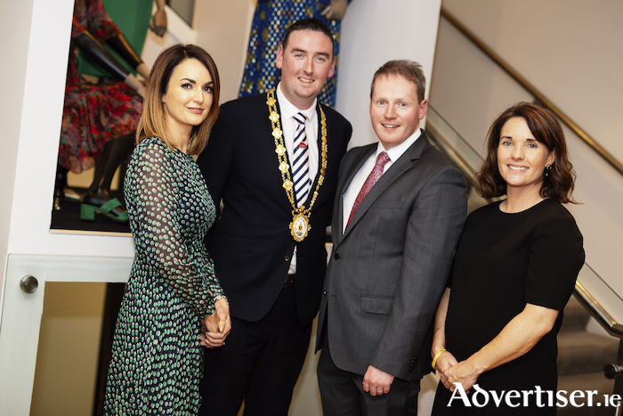 Marilyn Gallagher, Mayor Mike Cubbard, Michael Moloney, and Katie Walsh attending a very special evening 'celebrating 'Style and Heritage - Over 150 years of the Galway Races.' The event launched a retrospective photography exhibition over 150 years of the Galway Races which will be on display throughout Brown Thomas Galway during the month of July.
