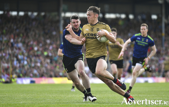 Hard to handle: Brendan Harrision had his hands full with Kerry's David Clifford last Sunday. Photo: Sportsfile