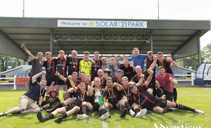 Winning wanderers: The Newport-Mulranny Wanderers team celebrate winning the McDonnell Cup. Photo: Ryan Gallagher