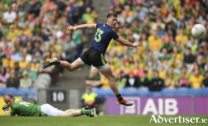 Back of the net: Cillian O'Connor slots home Mayo's second goal. Photo: Sportsfile