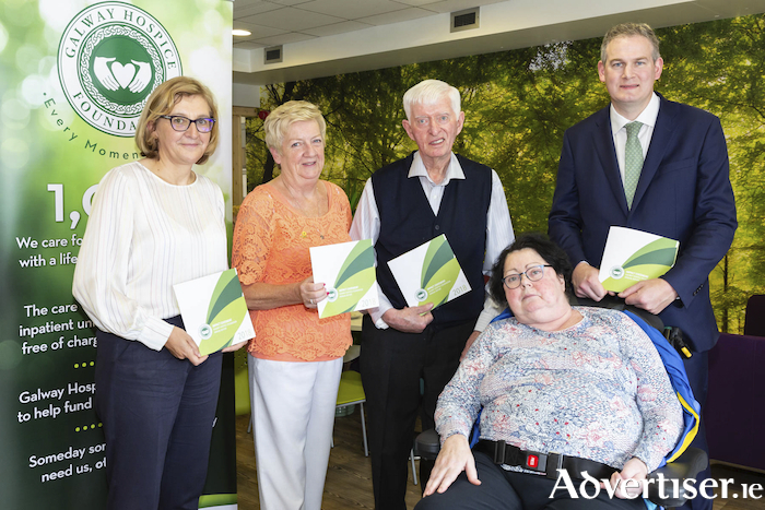 Mary Nash, the chief executive of the Galway Hospice; Bernie Walsh, Fr Mulkerrins, Michele Coghlan and Seán Kyne, Government Chief Whip and Minister for the Irish Language, the Gaeltacht and the Islands at the launch of the Galway Hospice Impact Statement which includes facts, figures and insights into the operation of Galway Hospice.