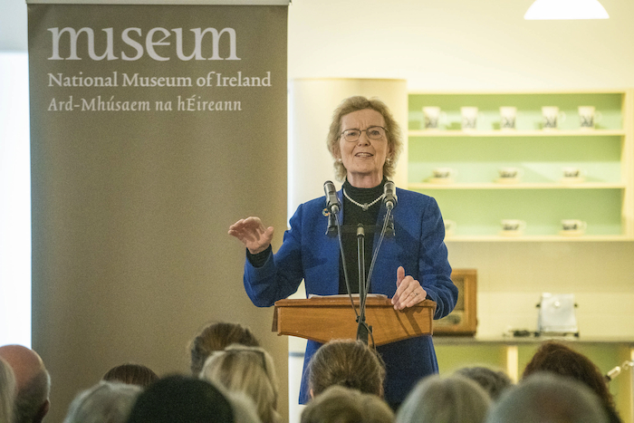 Former President of Ireland Mary Robinson at the National Museum of Ireland - Country Life, Turlough, Co. Mayo to launch a new exhibition 'Kitchen Power - Women's Experiences of Rural Electrification' which chronicles the effect of rural electrification on women. Photo : Keith Heneghan
