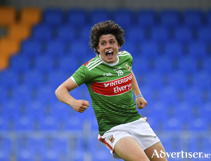 Smile of success: Rory Morrin celebrates scoring Mayo's fifth goal against Dublin. Photo: Sportsfile