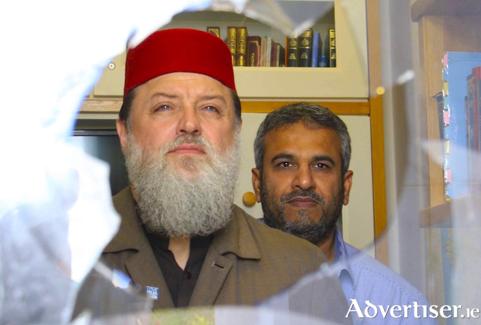 Imam Ibrahim Noonan (left) with Shareef Ahmed Mubashir (caretaker) at the Ahmadiyia Muslim mosque, Ballybrit, which was vandalised earlier this week. Photo:- Mike Shaughnessy