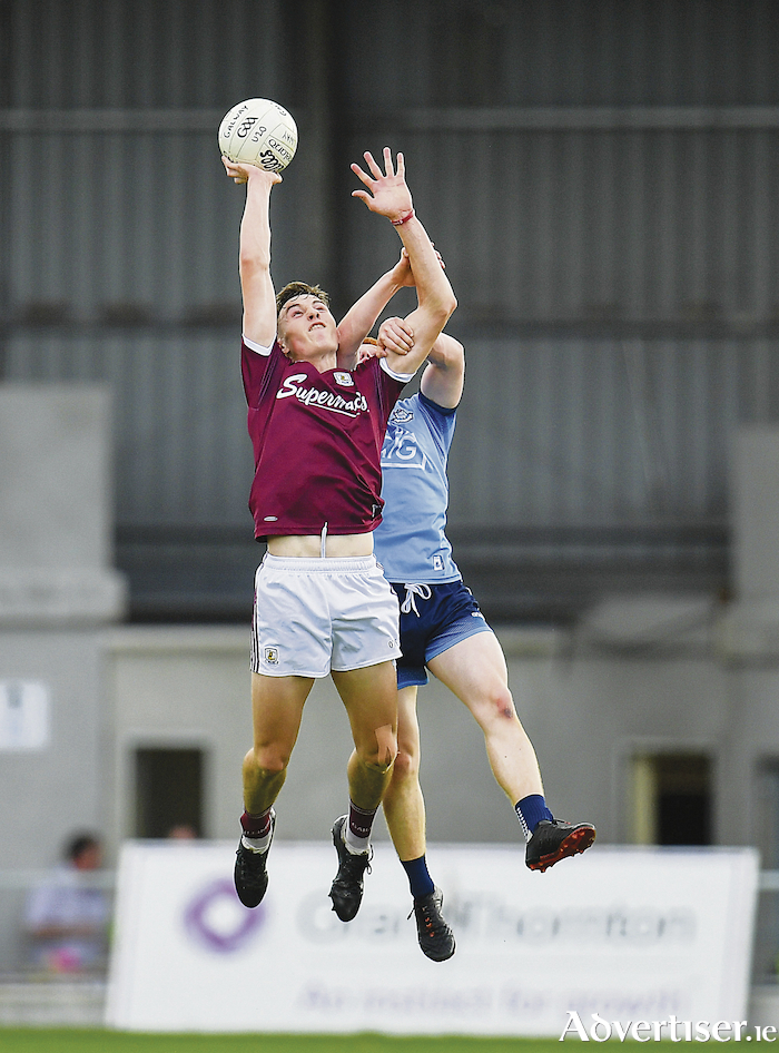 Matthew Tierney of Galway in action against Sean Lambe of Dublin during the EirGrid GAA Football All-Ireland U20 Championship semi-final at Glennon Brothers Pearse Park in Longford. Photo by Seb Daly/Sportsfile.