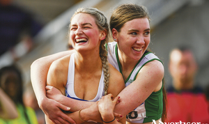 Nicole Walsh of Galway City Harriers AC, left, and Sinead Treacy of Craughwell AC, after competing in the women's 400m during day two of the Irish Life Health National Senior Track & Field Championships at Morton Stadium in Santry, Dublin. Photo by Sam Barnes/Sportsfile.