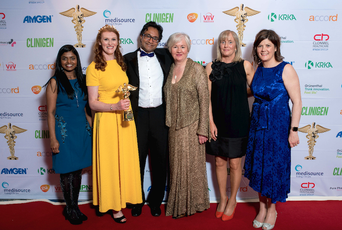 Pictured Left to Right: Vilasini Vikneswaramoorthy - Microbiology NCHD, Marie Ronan - AMS Pharmacist, Shomik Sibartie - Consultant Microbiolgist, Rose Cafferkey - AMS Pharmacist, Grainne McHale - IFCN and Majella Sharkey - Surveillance Scientist, Winners of the Consultant-led hospital team of the year award 2019. Photo: Aidan Oliver PhotographyAt the recent Hospital Professional Awards, from left: Dr Vilasini Vikneswaramoorthy, Microbiology NCHD; Marie Ronan, AMS pharmacist; Dr Shomik Sibartie, Consultant Microbiologist; Rose Cafferkey, AMS pharmacist; Grainne McHale, Infection Control Nurse; and Majella Sharkey, Surveillance Scientist.