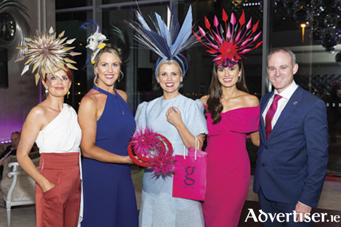 Milliner Tina Coyne,  Olivia Frawley, The g Hotel, Best Hat Winner Michelle Manning, Miss Ireland, Aoife O'Sullivan and Andrew Drysdale, GM, The g Hotel pictured at the g hotel's Ladies' Day annual Best Hat and Most Dapper Gent Competition. Photo Martina Regan