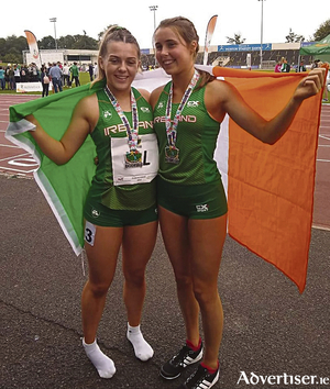 GCH athletes Seren O Toole and Eimear Rowe who competed for Ireland at the Youth Nations Cup last weekend.