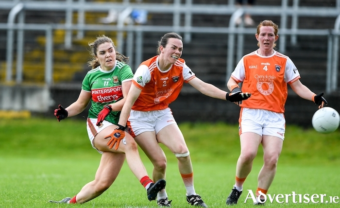 Maria Reilly of Mayo scores a goal past Sarah Marley of Armagh during the TG4 All-Ireland Ladies Football Senior Championship Quarter-Final match between Mayo and Armagh at Glennon Brothers Pearse Park in Longford. Photo by Matt Browne/Sportsfile