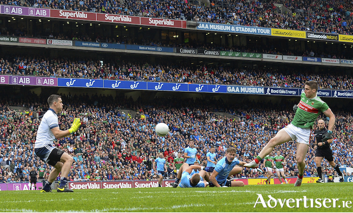 Kicking Keegan: Lee Keegan scores Mayo's goal against Dublin. Photo: Sportsfile