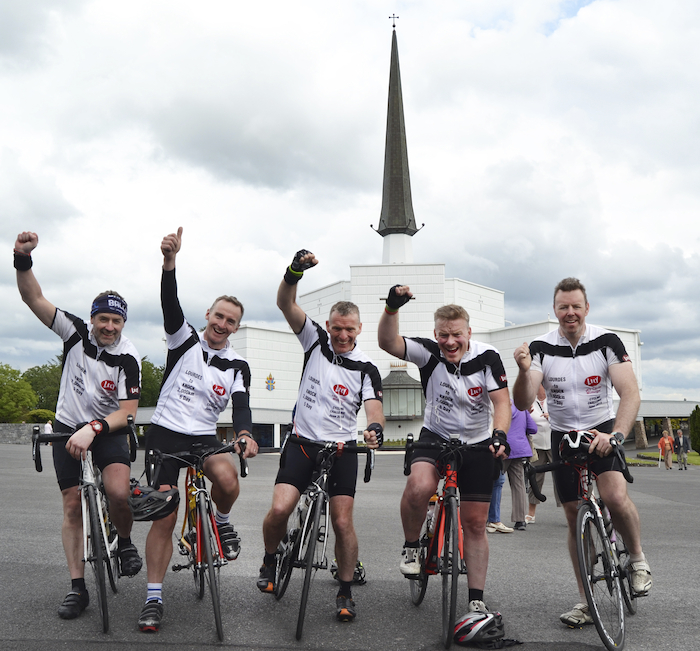 On their bikes: Jonathon Verry (Crossmolina), Maurice Dore (Mullingar), Gerry 'Boots' Powell (London & Armagh), Alan Heaney (Swinford), Gary Bigley (Kiltimagh) who cycled from Lourdes to Knock. Photo: Sinead Mallee.