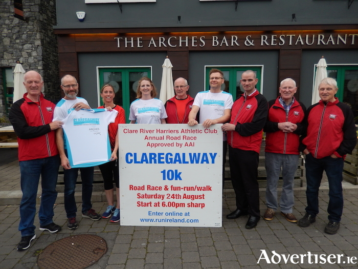 Brendan Dunleavy and his staff from the Arches Hotel, Bar and Restaurant (main sponsor) with members from Clare River Harriers Athletic Club at the official launch of the 32nd Claregalway 10K which will be held on Saturday August 24 at 6pm. Full details and a link to online entry can be found onwww.clareriverharriers.com