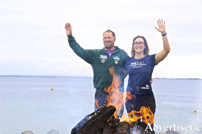 On Sunday morning Atlantic Masters Swimming Club held a welcome home celebration for club members Fergal Madden from Athenry and Deirdre Newell from Corrandulla, who recently swam the Strait of Dover between the UK and France. Photo:-Mike Shaughnessy