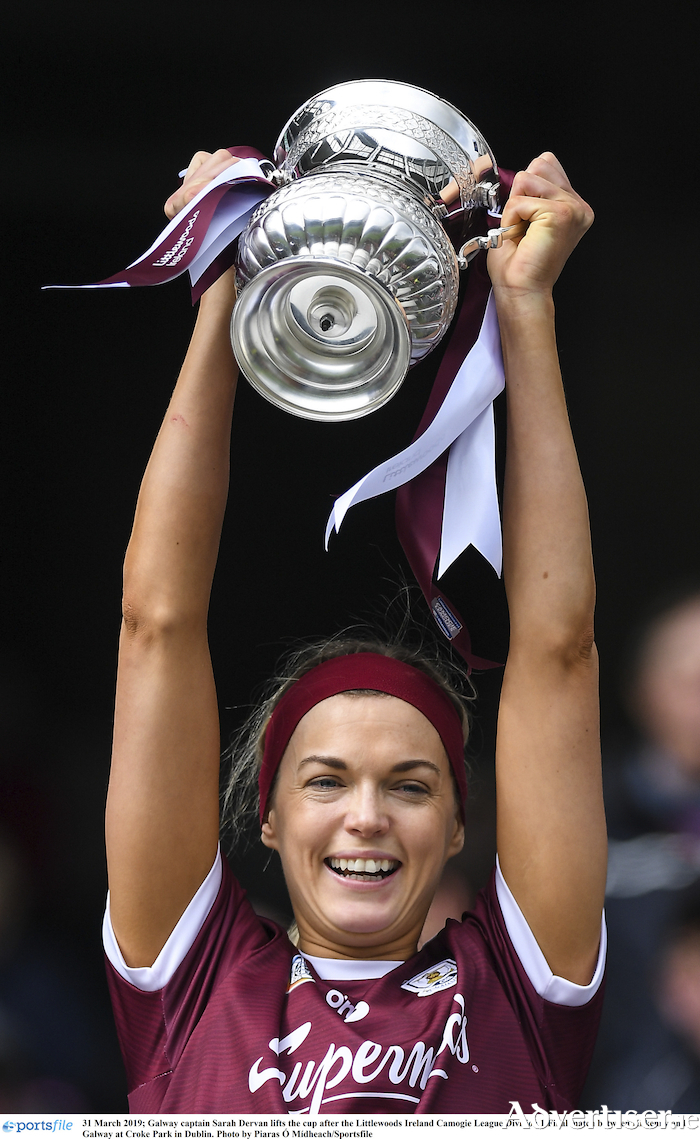 Galway captain Sarah Dervan, celebrating the League Division 1 success earlier in the season, will be looking to lead her side to an All Ireland final with victory on Saturday.