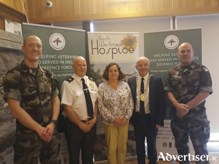 Attending the launch of the Defence Forces Gala Concert in the Radisson Blu Hotel in Athlone were, left to right: Comdt Máirtín Coffey (Custume Barracks), Paul Cooley (ONE Fuchsia appeal), Áine McFadden (South Westmeath Hospice), Frankie Keena (Mayor of Athlone) and Lt Col Oliver Dwyer (Officer Commanding Custume Barracks). Tickets for the concert are available at the Radisson Blu Hotel reception or online at eventbrite.ie.