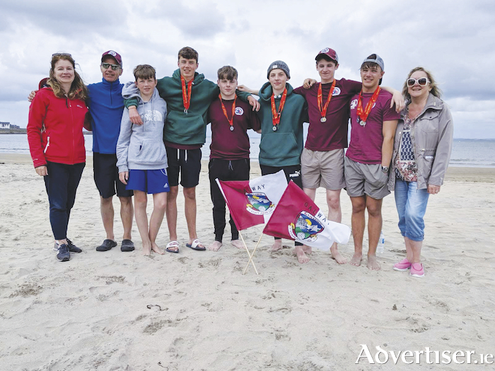 Medal-winning Galway life-savers, Mary Tobin, Micheál Hayes, Diarmuid Hayes, Michael Hayes, Sean Thornton, Eoin Schaefer, Mark Tobin, Michael McAndrew, Dolores McAndrew, at the regional championships in Mullaghmore at the weekend.
