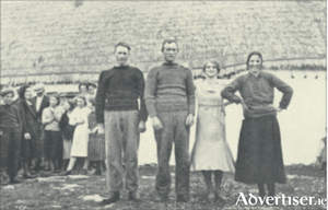 The bridal group (centre) at the wedding on Aran (note the bride's modern dress)