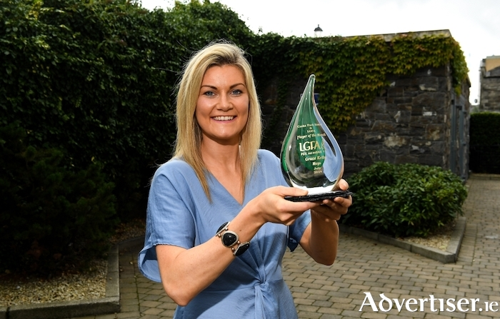 Grace Kelly of Mayo is pictured with The Croke Park / LGFA Player of the Month award for July, at The Croke Park in Jones Road, Dublin. Grace starred for Mayo in their TG4 All-Ireland SFC qualifier victories over Tyrone and Donegal in July, scoring 1-3 against Tyrone and 0-8 in the win against Donegal. Photo by Matt Browne/Sportsfile