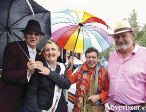 Rod Goodall, Nuala Ward, Jane Talbot and Padraig Breathnach, founding members of Galway's First Pride Parade in 1989, at Galway Pride Parade 2019 on Saturday. 			 Photo:-Mike Shaughnessy