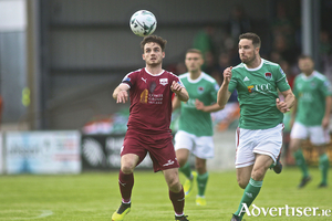 Galway United's Conor Barry and Cork City's Gearoid Morrissey in action from the Extra.ie FAI Cup second round game at Eamonn Deacy Park on Friday night. 