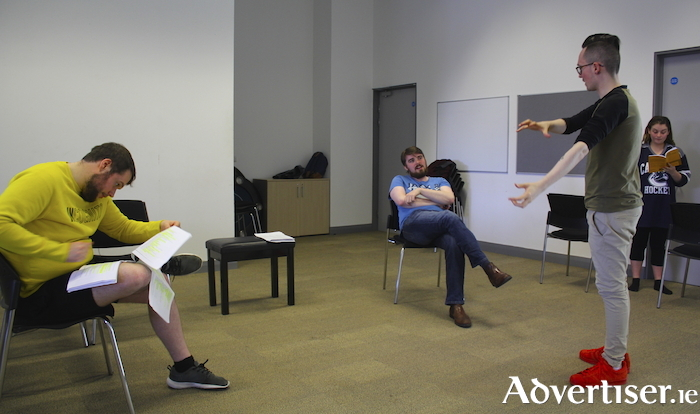Shane McCormick, Kevin Murphy, Robbie Walsh (director), and Ellen McBride, during rehearsals for TAPE.