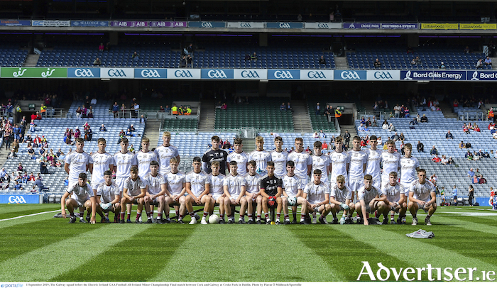 The Galway squad that contested the Electric Ireland GAA Football All-Ireland Minor Championship final between Cork and Galway at Croke Park in Dublin.
