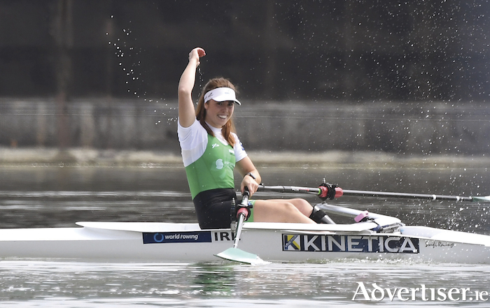 Galway's Katie O'Brien celebrates a podium finish in the World Rowing Championships in Austria.