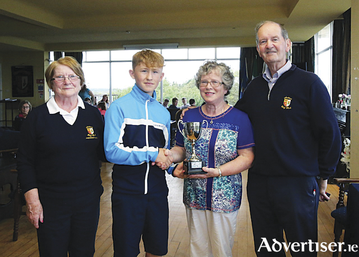 Darragh McGrath (second from left) was the winner of the Johnny Bracken Memorial Cup.  He is pictured with, from left,  Mary McHale, Club President,  Mary Bracken and Johnny Kinahan, competition organiser.