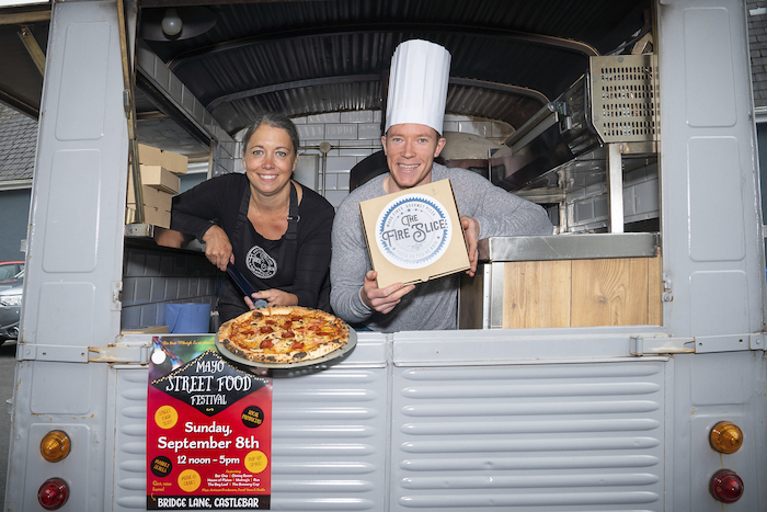 At the launch of this year's Mayo Street Food Festival, which takes place on Sunday, September 8 were Mayo footballer Donal Vaughan, Valerie Tirmant of The Fire Slice pizza truck. Picture: John Mee Photography