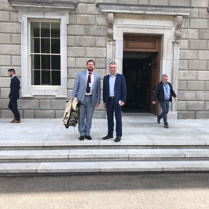 Fianna Fail Deputy Dara Calleary and Cllr Michael Smyth outside Leinster House following their meeting with the NTA.