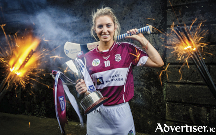 Westmeath camogie captain, Mairead McCormack, photographed with the All Ireland intermediate final silverware which she aspires to raise aloft along with her playing colleagues on Sunday afternoon in Croke Park.  Mandatory Credit ©INPHO/Ryan Byrne.