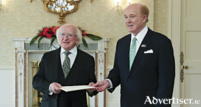 US Ambassador to Ireland, Edward Crawford, presenting his credentials to president Michael D Higgins, shortly after his appointment last July.