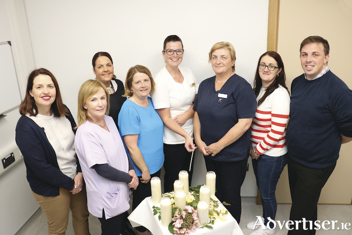 Hospital staff preparing for the 2019 ecumenical memorial service which will be held tonight. From left: Olive Gallagher; Mary Burke, Joint Chair of End of Life Care Committee; Mairead Hannan; Anne McKeown, bereavement liaison officer; Delores Callanan; Claire McHugh; Delores Loftus, assistant secretary, End of Life Care Committee and James Geoghegan.