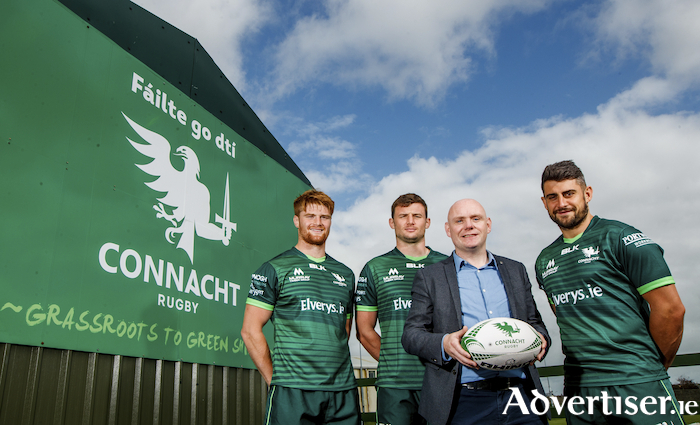 Pictured at the launch of the new strategic partnership between Ireland West Airport and Connacht Rugby are from left to right, Sean O' Brien, Eoghan Masterson, Connacht Rugby, Donal Healy, Ireland West Airport and Tiernan O' Halloran, Connacht Rugby.