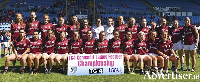 Connacht champions: The Galway team that won the TG4 Connacht Ladies Senior Football final match between Mayo and Galway at MacHale Park in Castlebar, Mayo this year. Back row: Olivia Divilly, Áine McDonagh, Sarah Conneally, Noelle Connolly, Niamh Daly, Bronagh Quinn, Lisa Murphy, Laura Hession, Siobhan Divilly, Louise Ward, Caitriona Cormican, Emma Reaney, Sarah Lynch, Leanne Coen, Emer Flaherty.