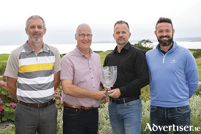 Boston Scientific succeed Creganna Medical, part of TE Connectivity, as the 2019 winners of the 27th Annual Healthcare Cup Golf Tournament sponsored by IBEC. Pictured are Mark O'Brien, Joe Walsh, Gary O'Brien and Dwayne Noone, Boston Scientific. Photo Martina Regan