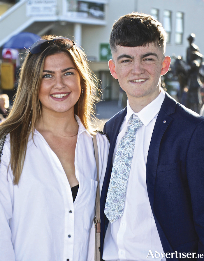 Katie and Gerard Mac Entee at the September Racing at Ballybrit on Tuesday to cheer on their brother jockey Luke. Photo:-Mike Shaughnessy