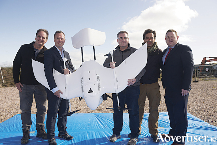 Steven Flynn, Skytango, Professor Derek O?Keeffe, NUI Galway, Wayne Floyd, Survey Drone Ireland, Santiago Montenegro UAV Specialist, Wingcopter and Marc Daly, Vodafone Ireland with the world?s first diabetes drone. The drone completed the first fully autonomous, beyond visible line of sight drone delivery of insulin, connected by Vodafone IoT, from Connemara Airport to Inis M?r on the Aran Islands. The diabetes drone was given special research permission from the Irish Aviation Authority to show the possibility of future deliveries of this kind within planned drone corridors. Photo: Andrew Downes, Xposure