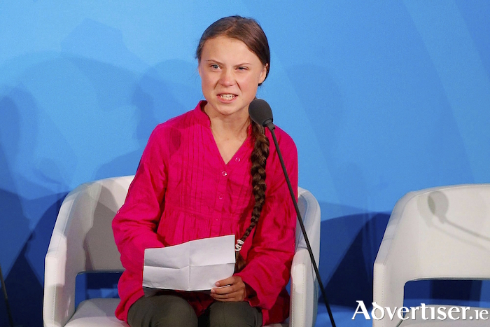 Climate activist Greta Thunberg during her speech this week at the UN.