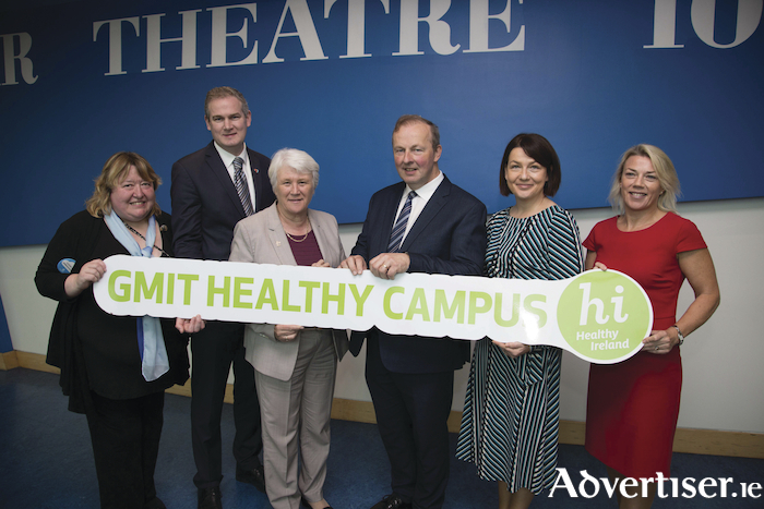 Anita Mahony, Chairperson of the GMIT Healthy Campus Initiative; Seán Kyne, Minister of State for the Irish Language, the Gaeltacht and the Islands; Catherine Byrne, Minister of State with responsibility for Health Promotion and the National Drugs Strategy; Dr Michael Hannon, acting president of GMIT; Catriona Morgan, chief officer, Galway City Council's Local Community Development Committee; and Dr Lisa Ryan, head of the GMIT Department of Natural Sciences.