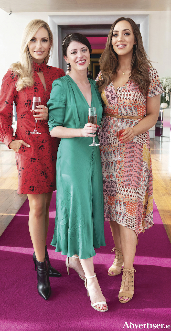 Pam Richardson, Emma Eliza Regan and Ali McGinn at a Downton Abbey-themed afternoon tea hosted by the gHotel prior to the screening of the Downton Abbey - The movie in the Eye Cinema on Thursday.