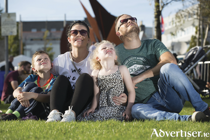 Look up, it's 2020 — The Duffy family from Mervue, Galway, Mark, Deirdre, Holly and Mark pictured at the stunning launch of the Galway 2020 European Capital of Culture programme last week. Photograph by Aengus McMahon.