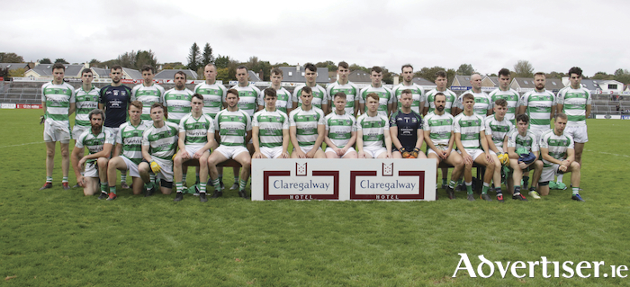 The Oughterard team which defeated Dunmore McHales 3-18 to 6 in the Galway Intermediate Football Championship semi-finals at Pearse Stadium on Sunday. Photo:-Mike Shaughnessy